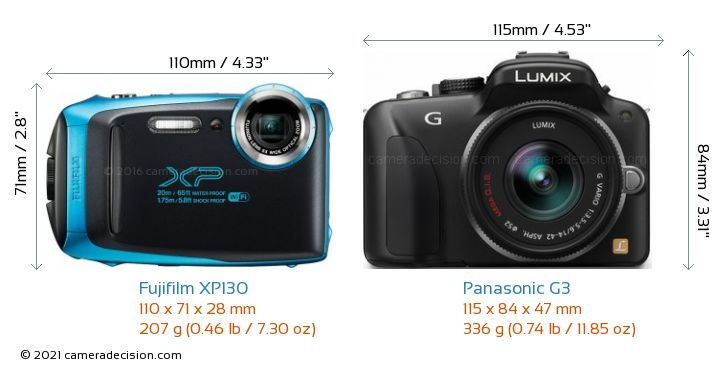 Fujifilm XP130 vs Panasonic G3 Camera Size Comparison - Front View