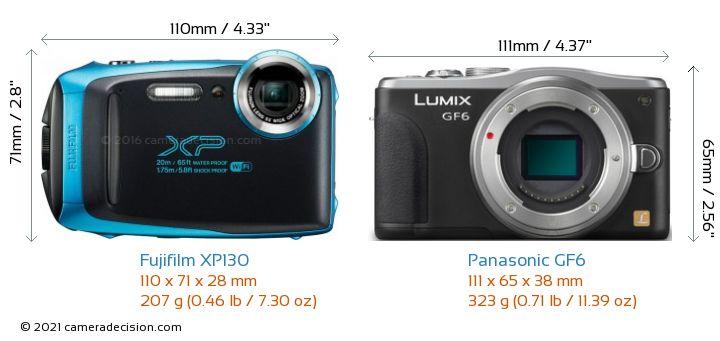Fujifilm XP130 vs Panasonic GF6 Camera Size Comparison - Front View