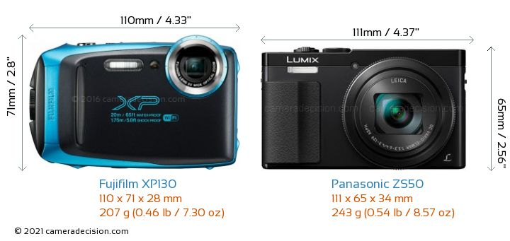 Fujifilm XP130 vs Panasonic ZS50 Camera Size Comparison - Front View