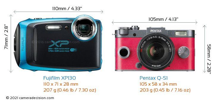 Fujifilm XP130 vs Pentax Q-S1 Camera Size Comparison - Front View