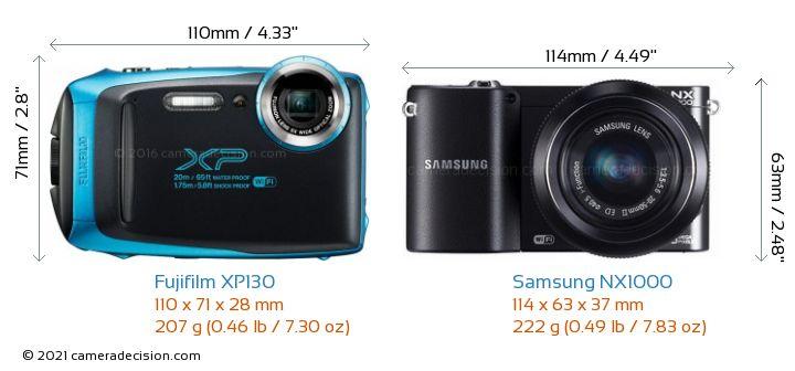 Fujifilm XP130 vs Samsung NX1000 Camera Size Comparison - Front View