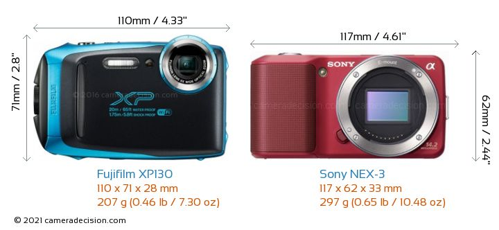 Fujifilm XP130 vs Sony NEX-3 Camera Size Comparison - Front View