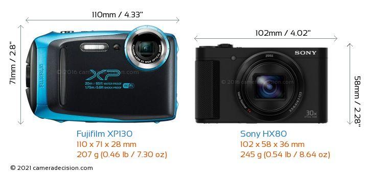 Fujifilm XP130 vs Sony HX80 Camera Size Comparison - Front View