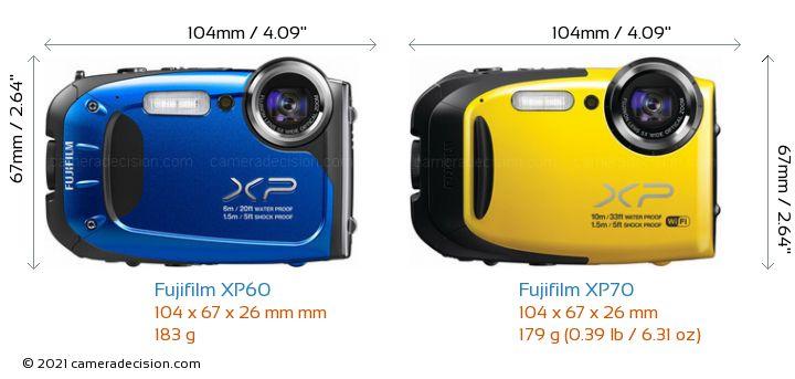 Fujifilm XP60 vs Fujifilm XP70 Camera Size Comparison - Front View