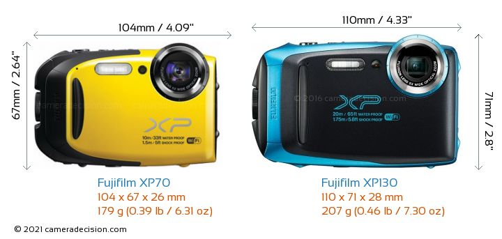 Fujifilm XP70 vs Fujifilm XP130 Camera Size Comparison - Front View