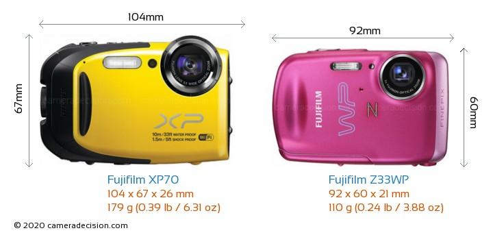 Fujifilm XP70 vs Fujifilm Z33WP Camera Size Comparison - Front View
