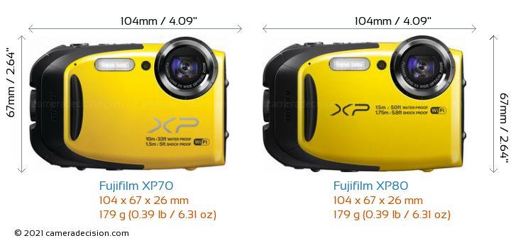 Fujifilm XP70 vs Fujifilm XP80 Camera Size Comparison - Front View