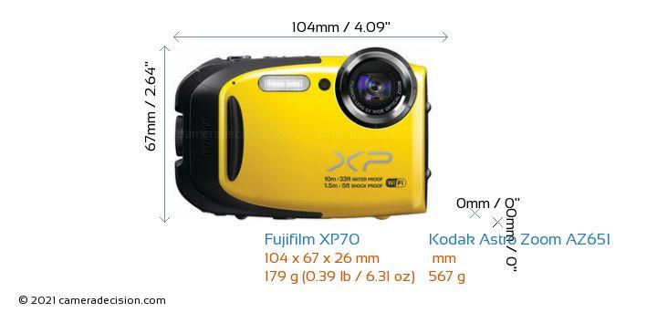 Fujifilm XP70 vs Kodak Astro Zoom AZ651 Camera Size Comparison - Front View