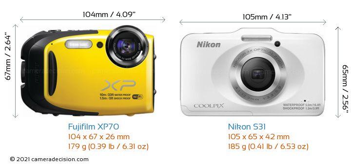 Fujifilm XP70 vs Nikon S31 Camera Size Comparison - Front View