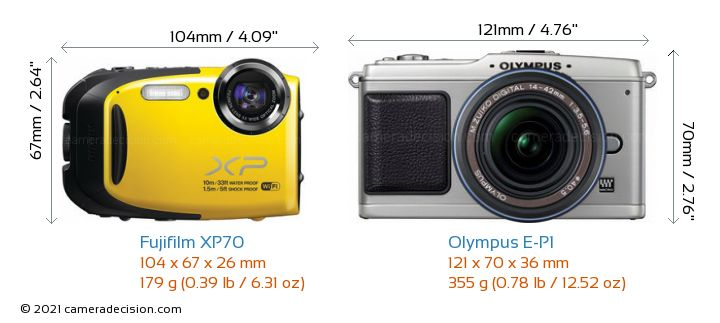 Fujifilm XP70 vs Olympus E-P1 Camera Size Comparison - Front View