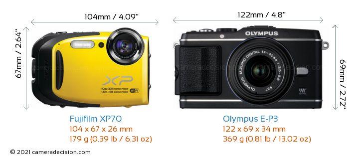 Fujifilm XP70 vs Olympus E-P3 Camera Size Comparison - Front View
