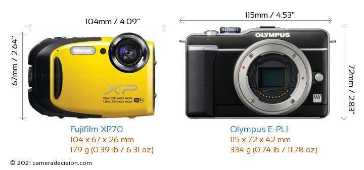 Fujifilm XP70 vs Olympus E-PL1 Camera Size Comparison - Front View