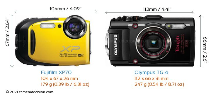 Fujifilm XP70 vs Olympus TG-4 Camera Size Comparison - Front View