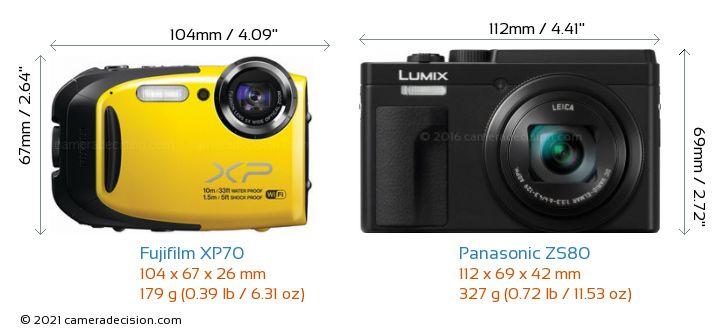 Fujifilm XP70 vs Panasonic ZS80 Camera Size Comparison - Front View