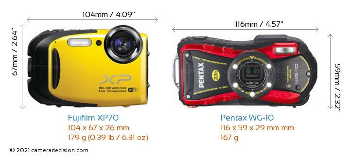 Fujifilm XP70 vs Pentax WG-10 Camera Size Comparison - Front View