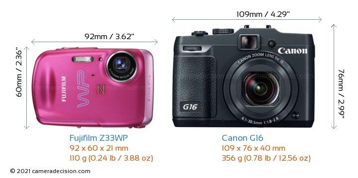 Fujifilm Z33WP vs Canon G16 Camera Size Comparison - Front View