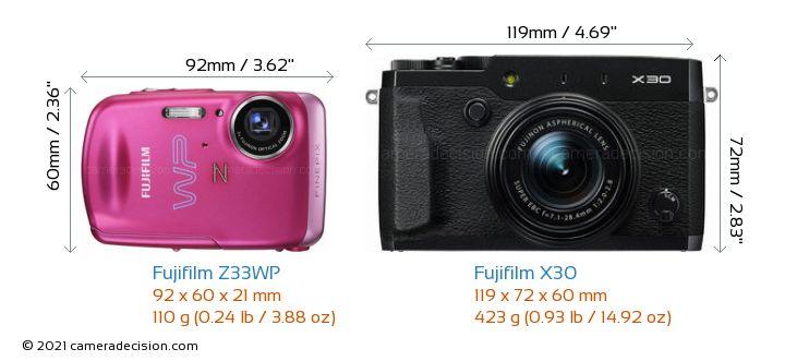 Fujifilm Z33WP vs Fujifilm X30 Camera Size Comparison - Front View