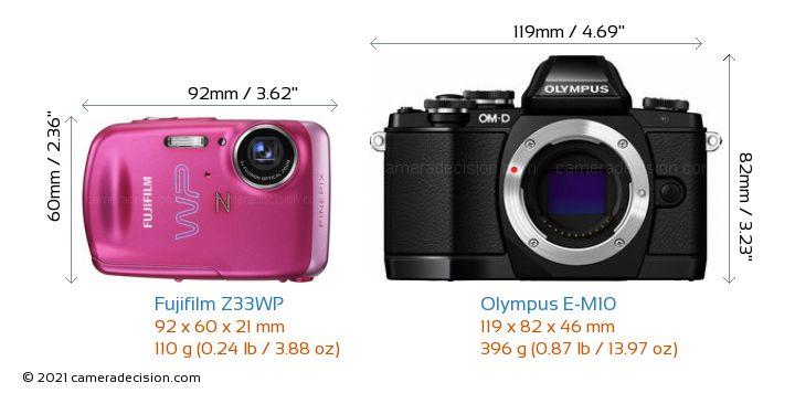 Fujifilm Z33WP vs Olympus E-M10 Camera Size Comparison - Front View