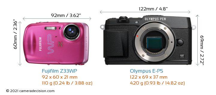 Fujifilm Z33WP vs Olympus E-P5 Camera Size Comparison - Front View