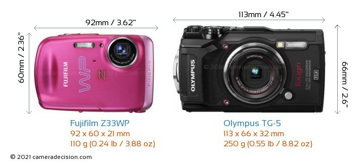 Fujifilm Z33WP vs Olympus TG-5 Camera Size Comparison - Front View