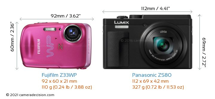 Fujifilm Z33WP vs Panasonic ZS80 Camera Size Comparison - Front View