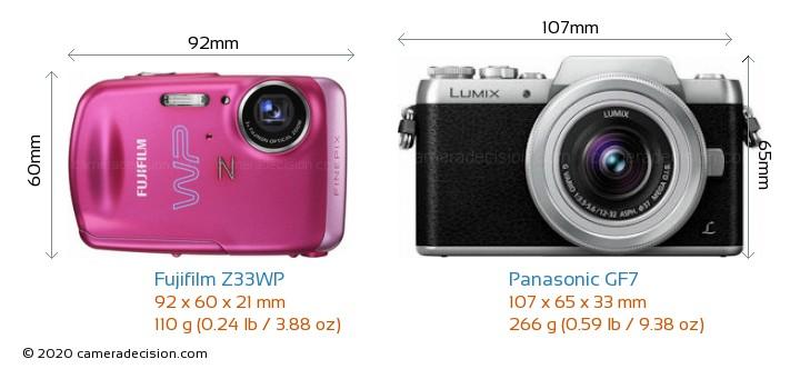 Fujifilm Z33WP vs Panasonic GF7 Camera Size Comparison - Front View
