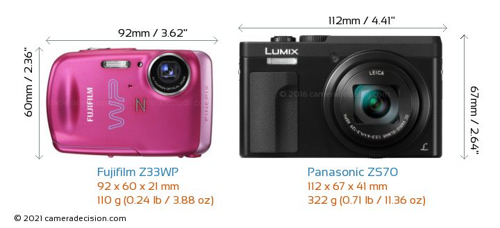 Fujifilm Z33WP vs Panasonic ZS70 Camera Size Comparison - Front View