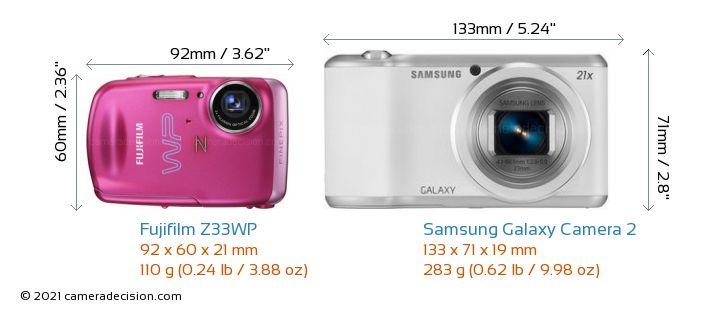 Fujifilm Z33WP vs Samsung Galaxy Camera 2 Camera Size Comparison - Front View