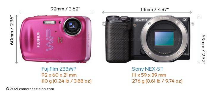 Fujifilm Z33WP vs Sony NEX-5T Camera Size Comparison - Front View