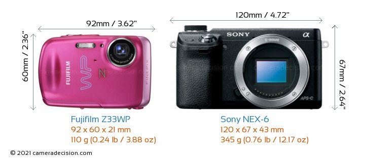 Fujifilm Z33WP vs Sony NEX-6 Camera Size Comparison - Front View