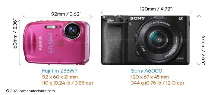 Fujifilm Z33WP vs Sony A6000 Camera Size Comparison - Front View