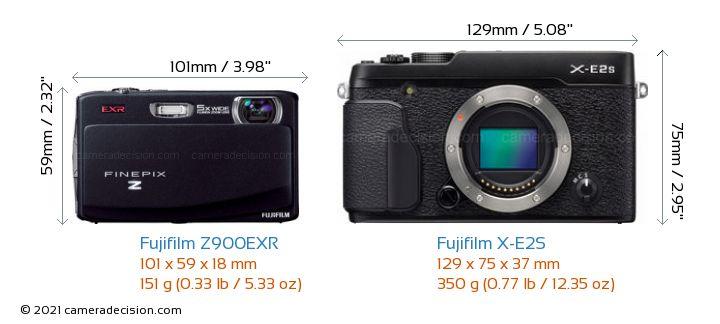 Fujifilm Z900EXR vs Fujifilm X-E2S Camera Size Comparison - Front View