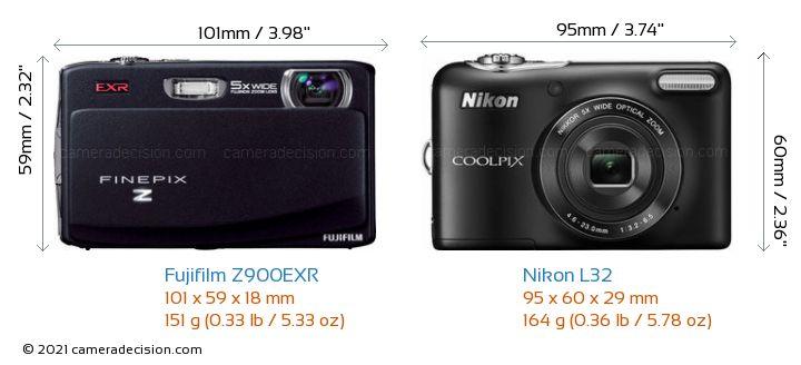 Fujifilm Z900EXR vs Nikon L32 Camera Size Comparison - Front View