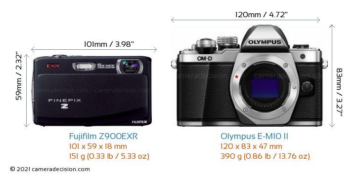 Fujifilm Z900EXR vs Olympus E-M10 II Camera Size Comparison - Front View