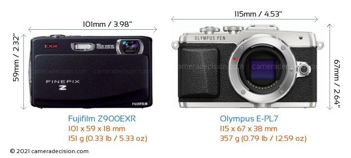 Fujifilm Z900EXR vs Olympus E-PL7 Camera Size Comparison - Front View