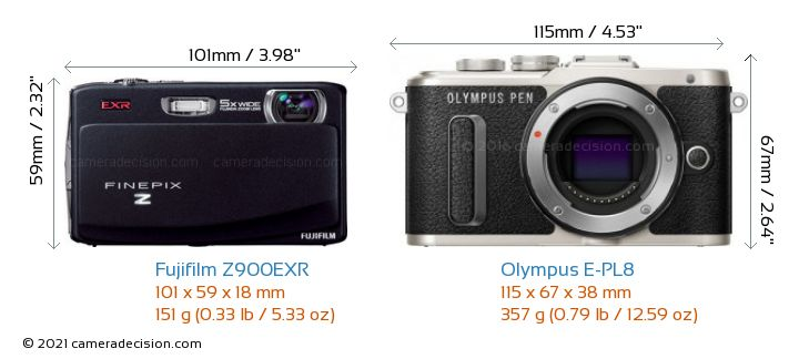 Fujifilm Z900EXR vs Olympus E-PL8 Camera Size Comparison - Front View
