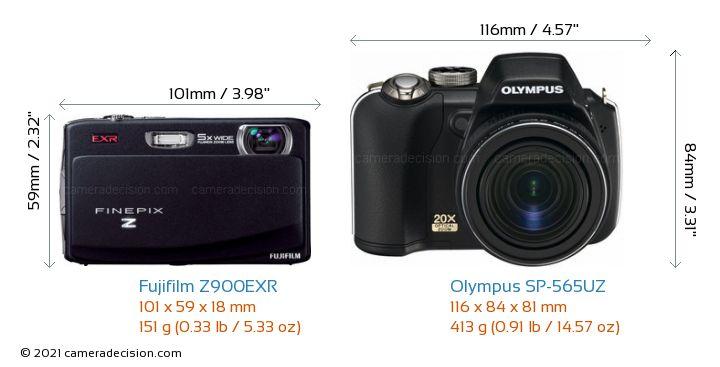Fujifilm Z900EXR vs Olympus SP-565UZ Camera Size Comparison - Front View