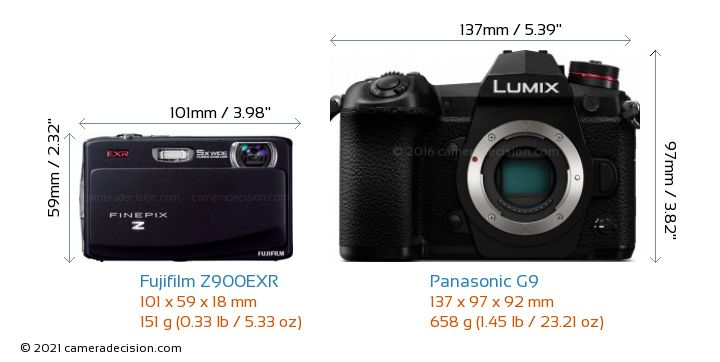 Fujifilm Z900EXR vs Panasonic G9 Camera Size Comparison - Front View