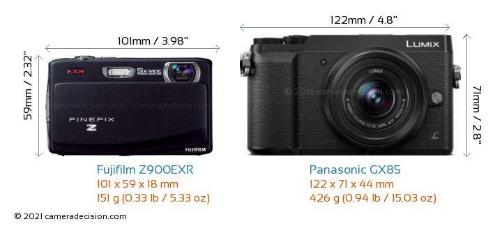 Fujifilm Z900EXR vs Panasonic GX85 Camera Size Comparison - Front View