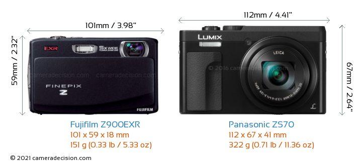 Fujifilm Z900EXR vs Panasonic ZS70 Camera Size Comparison - Front View