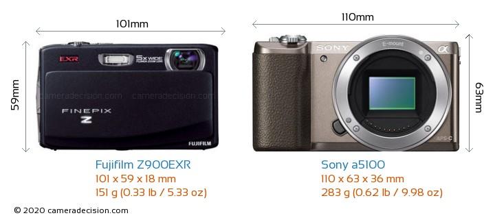 Fujifilm Z900EXR vs Sony a5100 Camera Size Comparison - Front View