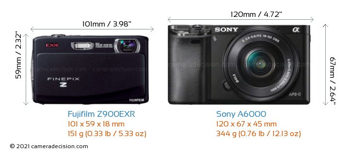 Fujifilm Z900EXR vs Sony A6000 Camera Size Comparison - Front View