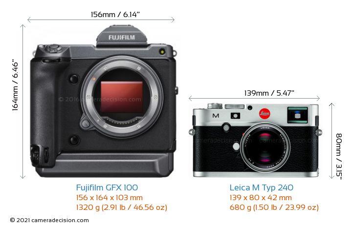 Fujifilm GFX 100 vs Leica M Typ 240 Camera Size Comparison - Front View