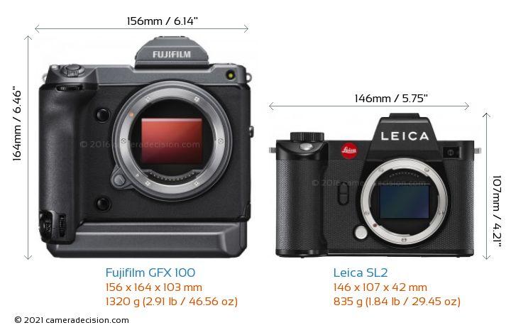 Fujifilm GFX 100 vs Leica SL2 Camera Size Comparison - Front View