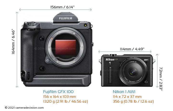 Fujifilm GFX 100 vs Nikon 1 AW1 Camera Size Comparison - Front View
