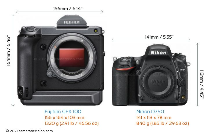 Fujifilm GFX 100 vs Nikon D750 Camera Size Comparison - Front View