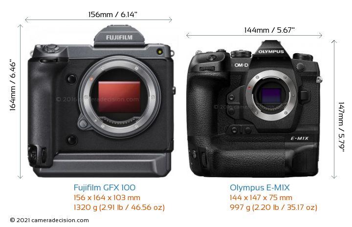 Fujifilm GFX 100 vs Olympus E-M1X Camera Size Comparison - Front View