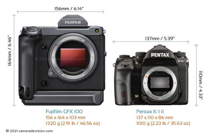 Fujifilm GFX 100 vs Pentax K-1 II Camera Size Comparison - Front View