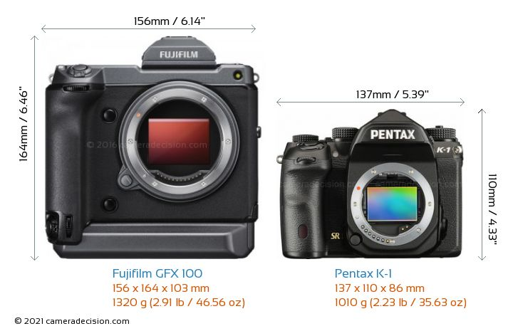 Fujifilm GFX 100 vs Pentax K-1 Camera Size Comparison - Front View