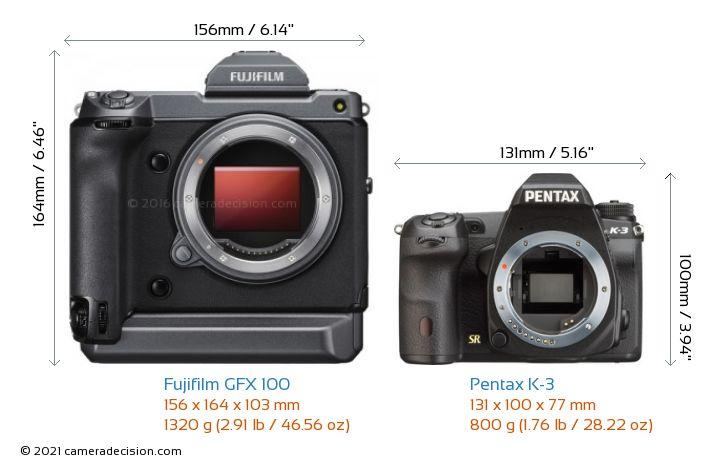 Fujifilm GFX 100 vs Pentax K-3 Camera Size Comparison - Front View